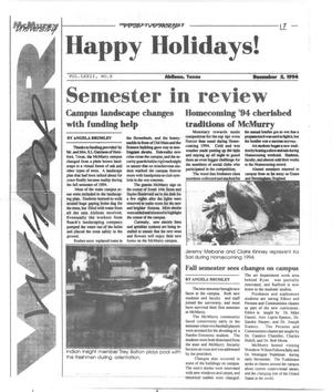 Primary view of object titled 'McMurry University War Whoop (Abilene, Tex.), Vol. 72, No. 8, Ed. 1, Monday, December 5, 1994'.
