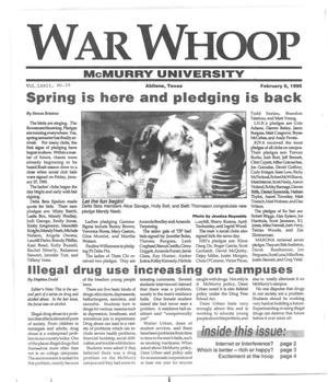 Primary view of object titled 'War Whoop (Abilene, Tex.), Vol. 72, No. 10, Ed. 1, Monday, February 6, 1995'.