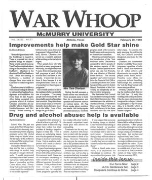 Primary view of object titled 'War Whoop (Abilene, Tex.), Vol. 72, No. 11, Ed. 1, Monday, February 13, 1995'.