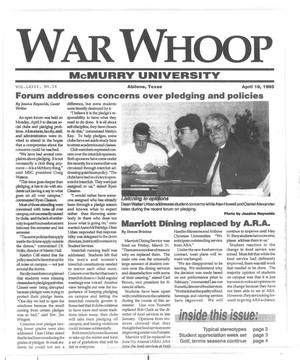 Primary view of object titled 'War Whoop (Abilene, Tex.), Vol. 72, No. 14, Ed. 1, Monday, April 10, 1995'.