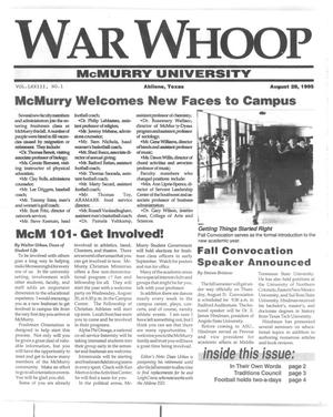 Primary view of object titled 'War Whoop (Abilene, Tex.), Vol. 73, No. 1, Ed. 1, Monday, August 28, 1995'.