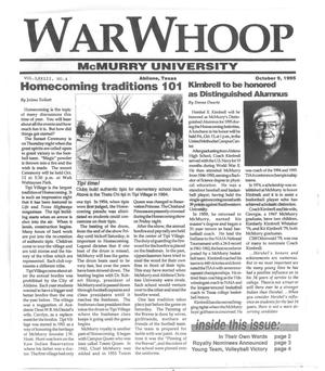 Primary view of object titled 'War Whoop (Abilene, Tex.), Vol. 73, No. 4, Ed. 1, Monday, October 9, 1995'.