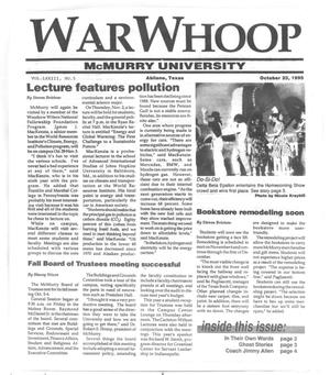 Primary view of object titled 'War Whoop (Abilene, Tex.), Vol. 73, No. 5, Ed. 1, Monday, October 23, 1995'.