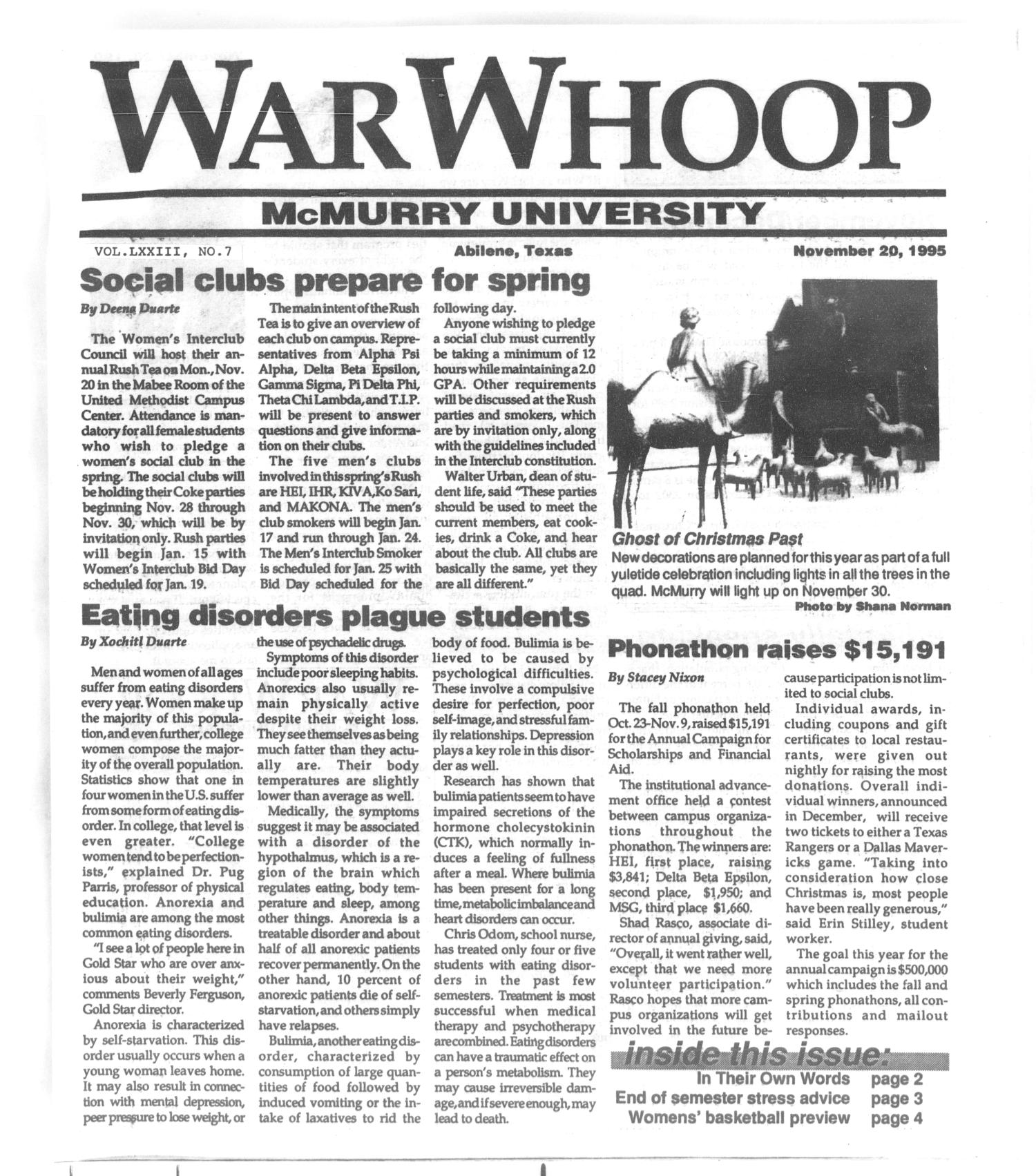 War Whoop (Abilene, Tex.), Vol. 73, No. 7, Ed. 1, Monday, November 20, 1995                                                                                                      [Sequence #]: 1 of 4