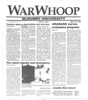 Primary view of object titled 'War Whoop (Abilene, Tex.), Vol. 73, No. 13, Ed. 1, Monday, March 25, 1996'.