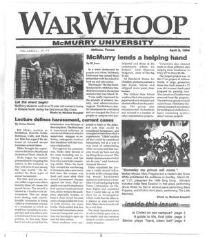 Primary view of object titled 'War Whoop (Abilene, Tex.), Vol. 73, No. 14, Ed. 1, Monday, April 8, 1996'.