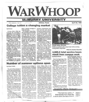 Primary view of object titled 'War Whoop (Abilene, Tex.), Vol. 73, No. 15, Ed. 1, Monday, April 22, 1996'.