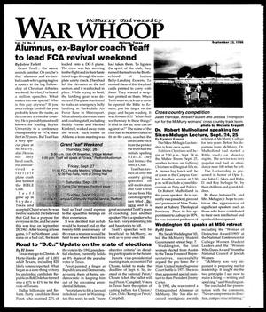 Primary view of object titled 'McMurry University War Whoop (Abilene, Tex.), Vol. 74, No. 3, Ed. 1, Monday, September 23, 1996'.