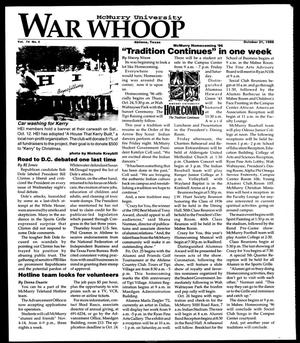 Primary view of object titled 'McMurry University War Whoop (Abilene, Tex.), Vol. 74, No. 5, Ed. 1, Monday, October 21, 1996'.