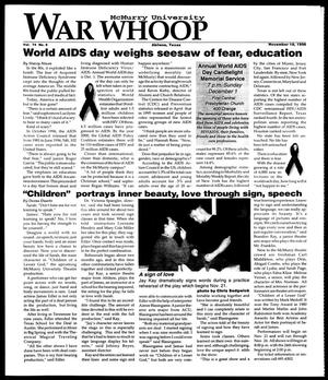 Primary view of object titled 'McMurry University War Whoop (Abilene, Tex.), Vol. 74, No. 6, Ed. 1, Monday, November 18, 1996'.