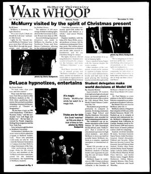 McMurry University War Whoop (Abilene, Tex.), Vol. 74, No. 8, Ed. 1, Monday, December 9, 1996