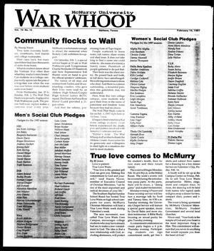 Primary view of object titled 'McMurry University War Whoop (Abilene, Tex.), Vol. 74, No. 10, Ed. 1, Monday, February 10, 1997'.