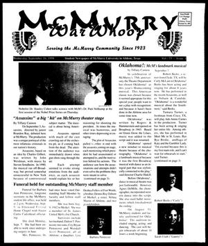 Primary view of object titled 'McMurry War Whoop (Abilene, Tex.), Vol. 75, No. 1, Ed. 1, Wednesday, September 16, 1998'.