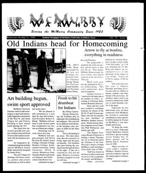 Primary view of object titled 'McMurry War Whoop (Abilene, Tex.), Vol. 75, No. 3, Ed. 1, Wednesday, October 21, 1998'.