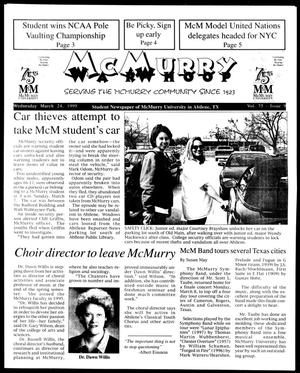 Primary view of McMurry War Whoop (Abilene, Tex.), Vol. 75, No. 9, Ed. 1, Wednesday, March 24, 1999