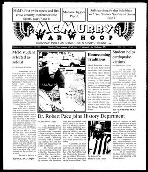 Primary view of object titled 'McMurry War Whoop (Abilene, Tex.), Vol. 76, No. 5, Ed. 1, Wednesday, November 10, 1999'.