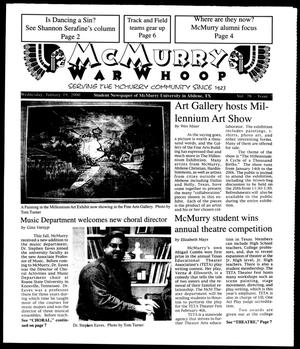 Primary view of object titled 'McMurry War Whoop (Abilene, Tex.), Vol. 76, No. 7, Ed. 1, Wednesday, January 19, 2000'.
