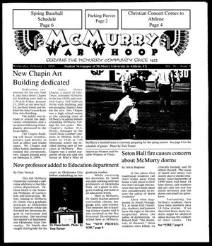 Primary view of object titled 'McMurry War Whoop (Abilene, Tex.), Vol. 76, No. 8, Ed. 1, Wednesday, February 2, 2000'.