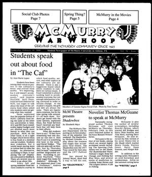Primary view of object titled 'McMurry War Whoop (Abilene, Tex.), Vol. 76, No. 9, Ed. 1, Wednesday, February 16, 2000'.