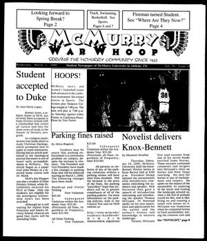 Primary view of object titled 'McMurry War Whoop (Abilene, Tex.), Vol. 76, No. 10, Ed. 1, Wednesday, March 1, 2000'.