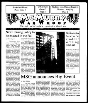 Primary view of object titled 'McMurry War Whoop (Abilene, Tex.), Vol. 76, No. 11, Ed. 1, Wednesday, March 22, 2000'.