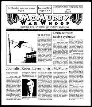 Primary view of object titled 'McMurry War Whoop (Abilene, Tex.), Vol. 76, No. 12, Ed. 1, Wednesday, April 5, 2000'.