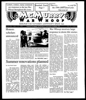 Primary view of object titled 'McMurry War Whoop (Abilene, Tex.), Vol. 76, No. 13, Ed. 1, Wednesday, April 19, 2000'.