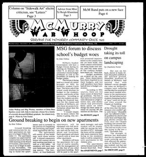Primary view of object titled 'McMurry War Whoop (Abilene, Tex.), Vol. 77, No. 2, Ed. 1, Wednesday, October 4, 2000'.