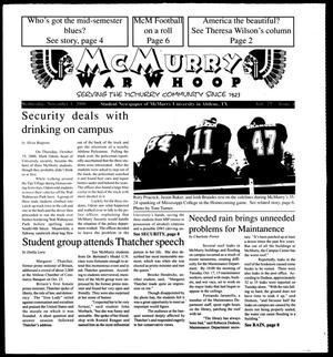 Primary view of object titled 'McMurry War Whoop (Abilene, Tex.), Vol. 77, No. 4, Ed. 1, Wednesday, November 1, 2000'.