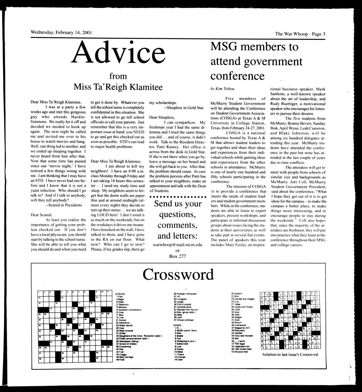 Mcmurry War Whoop Abilene Tex Vol 77 No 8 Ed 1