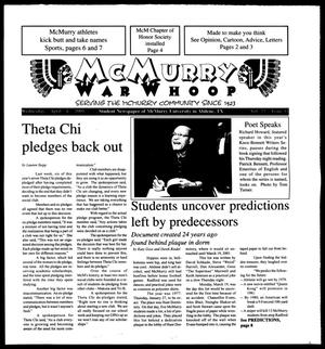 Primary view of object titled 'McMurry War Whoop (Abilene, Tex.), Vol. 77, No. 11, Ed. 1, Wednesday, April 4, 2001'.