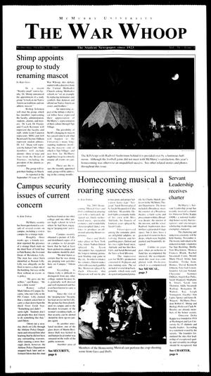 McMurry University, The War Whoop (Abilene, Tex.), Vol. 78, No. 4, Ed. 1, Wednesday, October 31, 2001