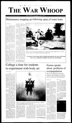 Primary view of object titled 'McMurry University, The War Whoop (Abilene, Tex.), Vol. 78, No. 5, Ed. 1, Wednesday, November 14, 2001'.