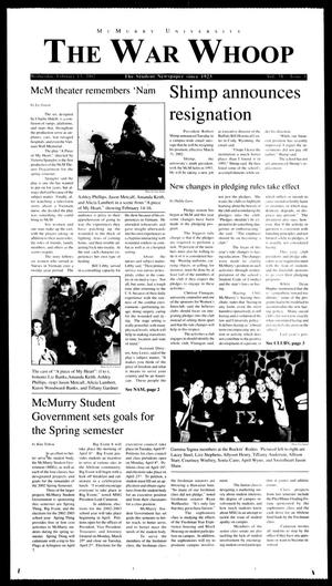 McMurry University, The War Whoop (Abilene, Tex.), Vol. 78, No. 8, Ed. 1, Wednesday, February 13, 2002