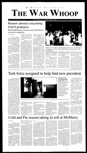 Primary view of object titled 'McMurry University, The War Whoop (Abilene, Tex.), Vol. 78, No. 9, Ed. 1, Wednesday, February 27, 2002'.