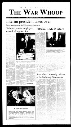 Primary view of object titled 'McMurry University, The War Whoop (Abilene, Tex.), Vol. 78, No. 10, Ed. 1, Wednesday, March 27, 2002'.