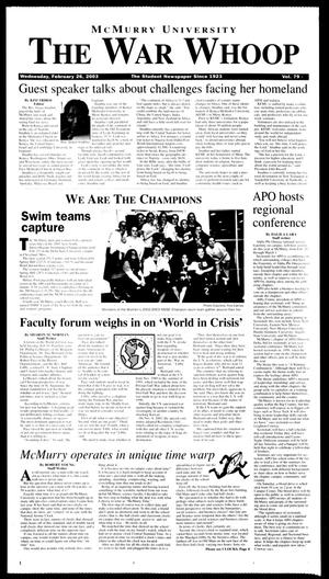McMurry University, The War Whoop (Abilene, Tex.), Vol. 79, No. 9, Ed. 1, Wednesday, February 26, 2003