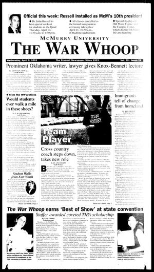 Primary view of object titled 'McMurry University, The War Whoop (Abilene, Tex.), Vol. 79, No. 11, Ed. 1, Wednesday, April 9, 2003'.