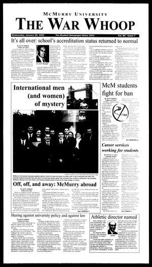 Primary view of object titled 'McMurry University, The War Whoop (Abilene, Tex.), Vol. 80, No. 7, Ed. 1, Wednesday, January 28, 2004'.