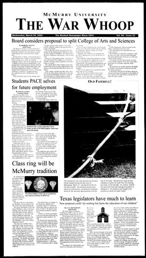 McMurry University, The War Whoop (Abilene, Tex.), Vol. 80, No. 10, Ed. 1, Wednesday, March 24, 2004