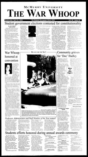 Primary view of object titled 'McMurry University, The War Whoop (Abilene, Tex.), Vol. 80, No. 12, Ed. 1, Wednesday, April 21, 2004'.