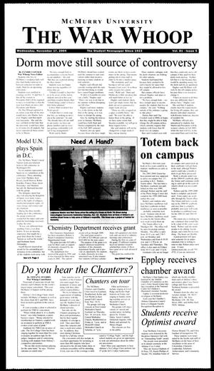McMurry University, The War Whoop (Abilene, Tex.), Vol. 81, No. 5, Ed. 1, Wednesday, November 17, 2004