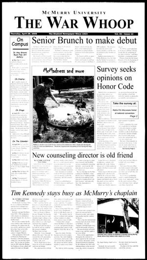 McMurry University, The War Whoop (Abilene, Tex.), Vol. 81, No. 12, Ed. 1, Thursday, April 28, 2005