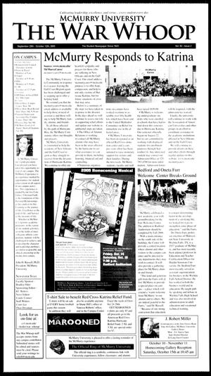 McMurry University, The War Whoop (Abilene, Tex.), Vol. 82, No. 2, Ed. 1, Friday, September 30, 2005