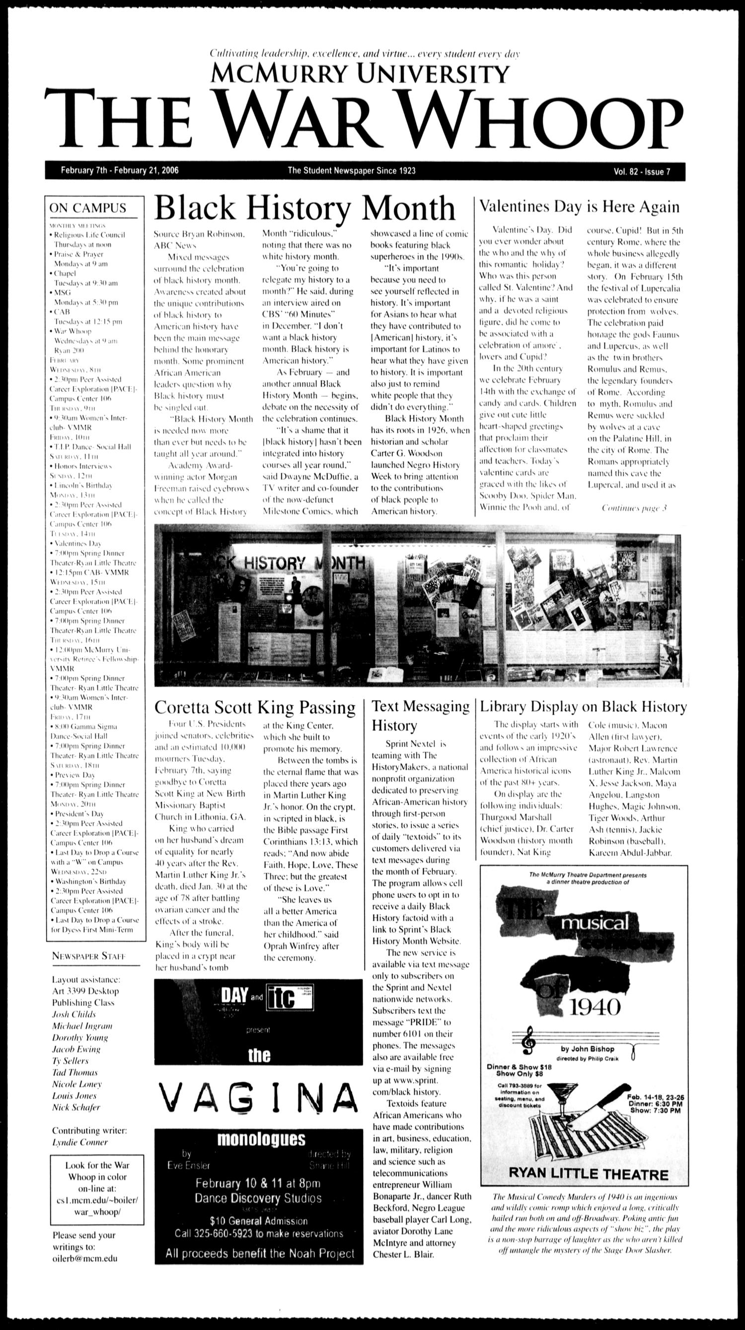 McMurry University, The War Whoop (Abilene, Tex.), Vol. 82, No. 7, Ed. 1, Tuesday, February 7, 2006                                                                                                      [Sequence #]: 1 of 4