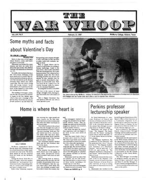 Primary view of object titled 'The War Whoop (Abilene, Tex.), Vol. 64, No. 9, Ed. 1, Friday, February 13, 1987'.