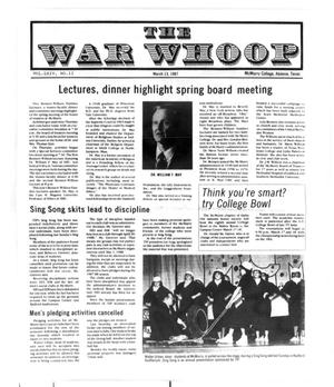 Primary view of object titled 'The War Whoop (Abilene, Tex.), Vol. 64, No. 11, Ed. 1, Friday, March 13, 1987'.