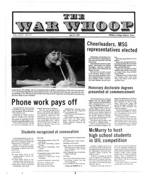 Primary view of object titled 'The War Whoop (Abilene, Tex.), Vol. 64, No. 13, Ed. 1, Friday, April 24, 1987'.