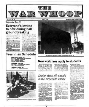 Primary view of object titled 'The War Whoop (Abilene, Tex.), Vol. 64, No. 14, Ed. 1, Friday, July 17, 1987'.
