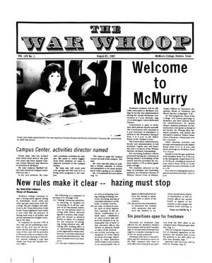 Primary view of object titled 'The War Whoop (Abilene, Tex.), Vol. 65, No. 1, Ed. 1, Friday, August 21, 1987'.